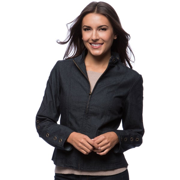 Grommet Trim On Collar and Sleeve Zip Front Jacket