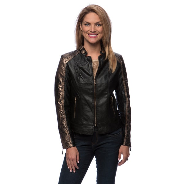 Animal Print Trim Zip Front Jacket
