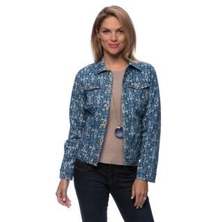 Floral Stripe Print Shirt Collar Jean Jacket