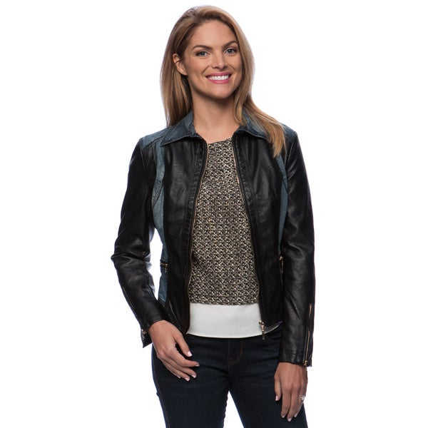 Zip Front PU Jacket With Denim Insert