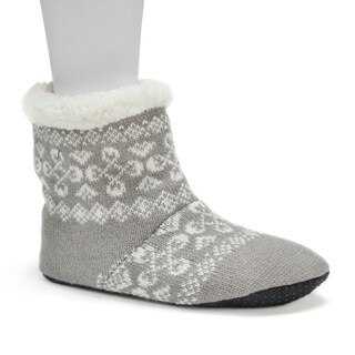 Muk Luks Women's Grey Bootie Slippers