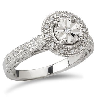Avanti Sterling Silver 1/10ct TDW Round Halo Vintage Diamond Engagement Ring (I-J, I2-I3)