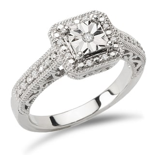 Avanti Sterling Silver 1/10ct TDW Square Halo Vintage Diamond Engagement Ring (I-J, I2-I3)