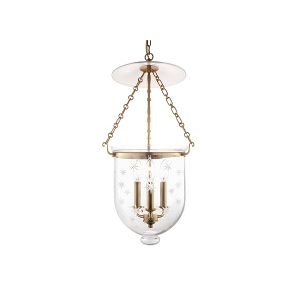 Hudson Valley Hampton 3-light Pendant, Aged Brass / Star Cut
