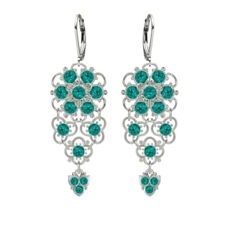 Lucia Costin Sterling Silver Turquoise/ Green Crystal Earrings with Charms