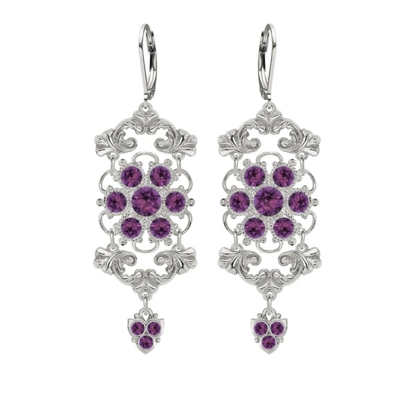 Lucia Costin Sterling Silver Violet Crystal Earrings with Flower
