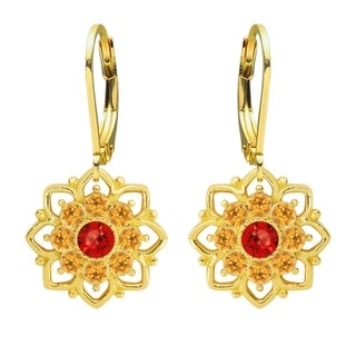 Lucia Costin Sterling Silver Red/ Yellow Crystal Earrings