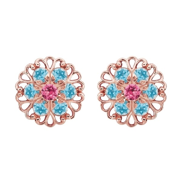 Lucia Costin Sterling Silver Light Blue/ Pink Crystal Earrings 15912497