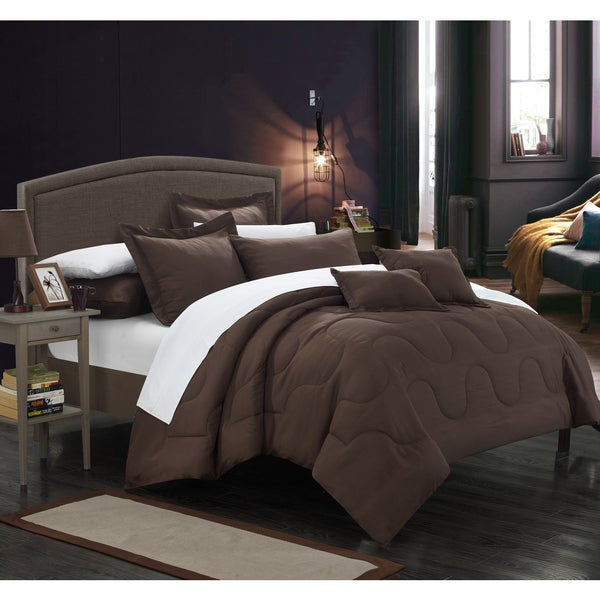 Chic Home Direllei Brown Down Alternative 7-piece Comforter Set