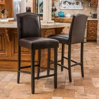 Christopher Knight Home Logan Bonded Leather Backed Barstool (Set of 2)