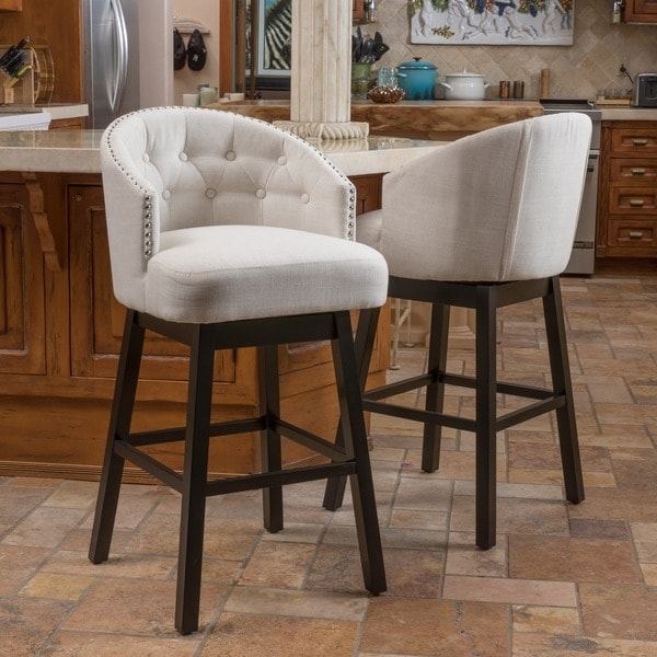 Christopher Knight Home Ogden Fabric Swivel Backed Barstool (Set of 2) - 17495006 - Overstock ...