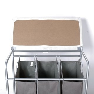 StorageManiac 3 Lift-off Bags Laundry Sorter with Foldable Ironing Board