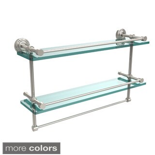 Waverly Place 22-inch Gallery Double Glass Shelf with Towel Bar