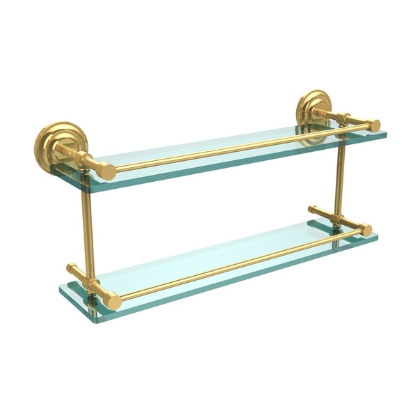 Que New 22-inch Double Glass Shelf with Gallery Rail 15912941