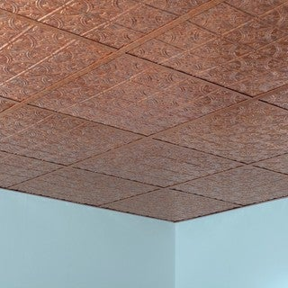 Fasade Traditional Style #1 Cracked Copper 2-foot x 2-foot Lay-in Ceiling Tile