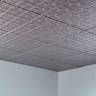 Fasade Traditional Style #1 Argent Silver 2-foot x 2-foot Lay-in Ceiling Tile
