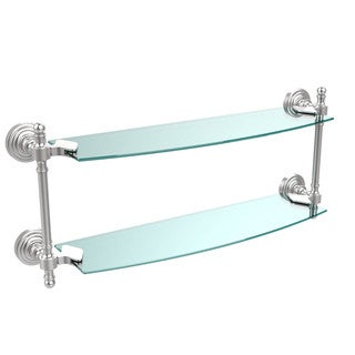 Retro Wave Collection 18-inch 2-tiered Glass Shelf