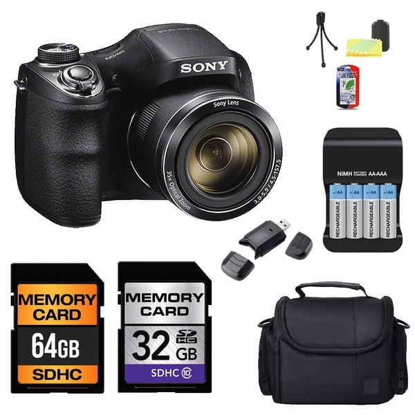 Sony Cybershot DSC-H300 Camera Black 64GB + 32GB Bundle