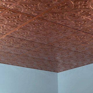 Fasade Traditional Style #2 Muted Gold 2-foot x 2-foot Lay-in Ceiling Tile