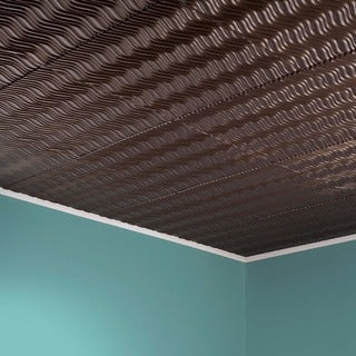 Fasade Current Horizontal Argent Bronze 2-foot x 2-foot Glue-up Ceiling Tile