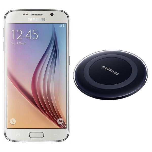 Samsung Galaxy S6 G920I 32GB Unlocked GSM Cell Phone White + Samsung Wireless Charger