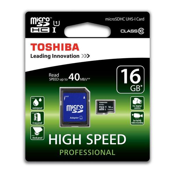 16GB Toshiba microSDHC High-Speed Memory Card + microSD Adapter (class 10) - Black