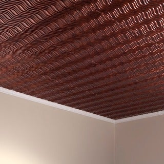 Fasade Current Horizontal Moonstone Copper 2-foot x 2-foot Glue-up Ceiling Tile