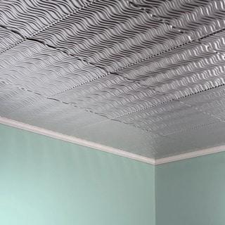 Fasade Current Horizontal Brushed Aluminum 2-foot x 2-foot Glue-up Ceiling Tile