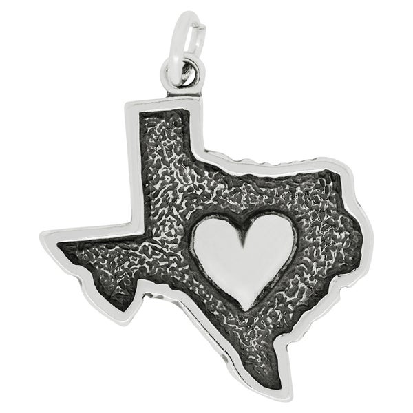Sterling Silver The Heart of Texas Map Charm Pendant on Carded 18-inch Box Chain