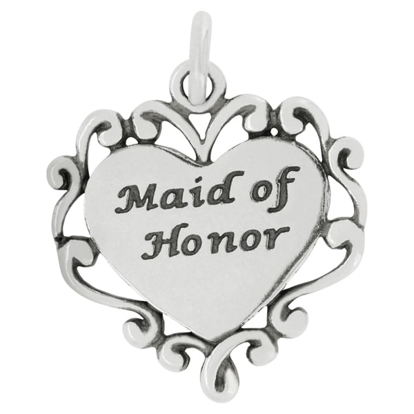 Sterling Silver Maid of Honor Heart Charm on Carded 18-inch Box Chain