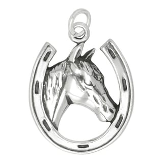 Sterling Silver Horse in Horseshoe Charm on Carded 18-inch Box Chain