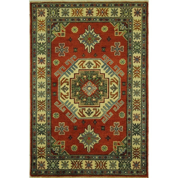 One of a Kind Red Oriental Super Kazak Hand-knotted Wool Area Rug (3'4 x 4'10)