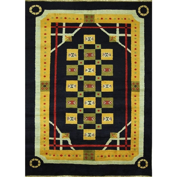 One of a Kind Super Fine Gabbeh Black Hand-knotted Persian Wool Rug (5'8 x 7'9)