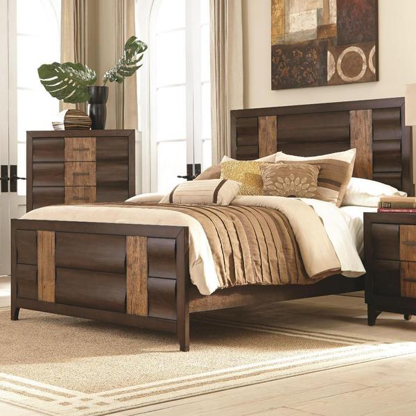 furniture of america duo tone 4 piece acacia and walnut bedroom set