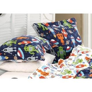 Greenland Home Fashions Robots in Space Standard Pillow Shams (Set of Two)