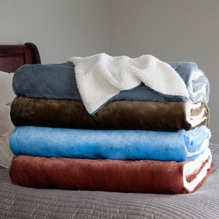 Windsor Home Fleece Blanket with Sherpa Backing