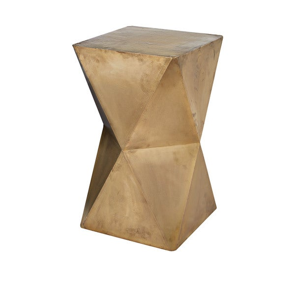 LS Dimond Home Faceted Stool with Brass Cladding