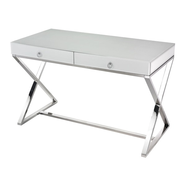 LS Dimond Home White Glass Desk