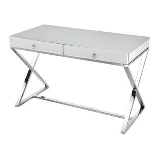 LS Dimond Home White Glass Desk