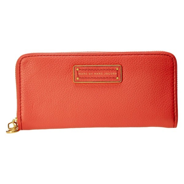 Marc By Marc Jacobs 'Too Hot To Handle' Leather Zip-around Rose Blush Checkbook