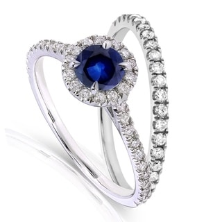 Annello 14k White Gold Round-cut Sapphire and 1/2ct TDW Diamond Halo Bridal Set (G-H, I1-I2)