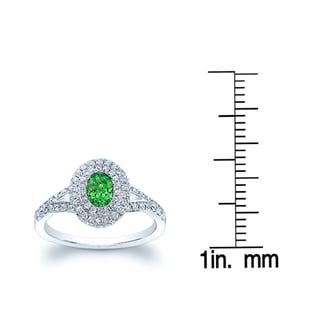Estie G 14k White Gold Oval Tsavorite 5/8ct TDW Diamond Ring (H-I, VS1-VS2)