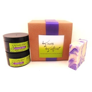 Lavender Bliss Gift Set by Karess Krafters with Handmade Soap, Body Scrub and Olive Cream