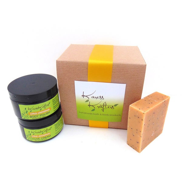 Citrus Lemongrass Gift Set by Karess Krafters with Handmade Soap, Body Scrub and Olive Cream