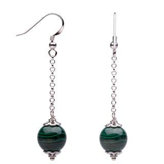 Sterling Silver 12mm Malachite Dangling Earrings