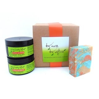 Citrus Blossom Gift Set by Karess Krafters with Handmade Soap, Body Scrub and Shea Butter Cream