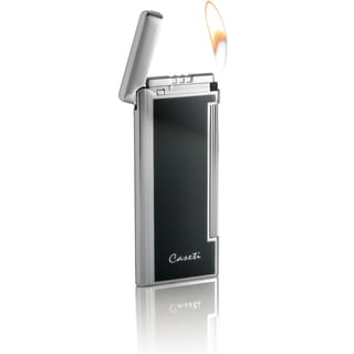 Caseti Nox Soft Flame Flint Lighter - Black Lacquer (Ships Degassed)