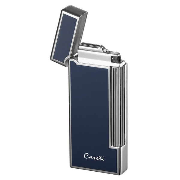 Caseti Ravensdale Flint Traditional Flame Lighter - Chrome Plated Vertical Lines & Blue Lacquer (Ships Degassed)