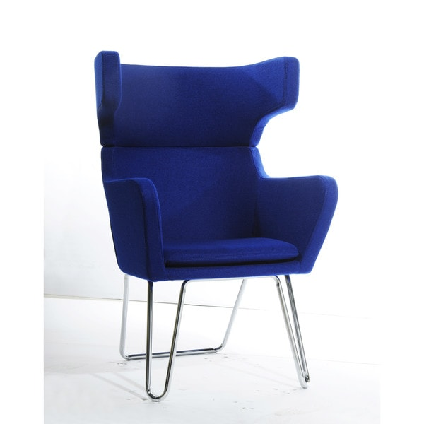 Modrest Anser Modern Blue Fabric Lounge Chair
