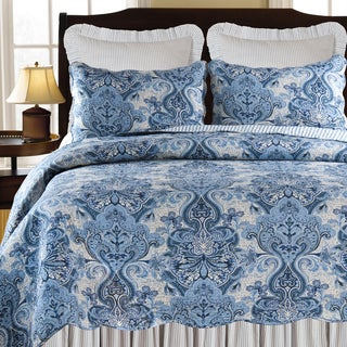 Navy Damask Cotton Quilt and Sham Separates